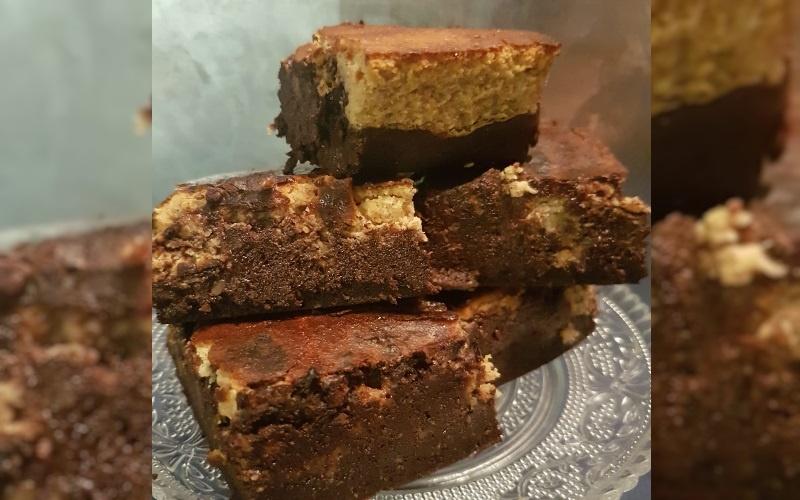 Low Carb Pompoen Cheesecake met een Browniebodem